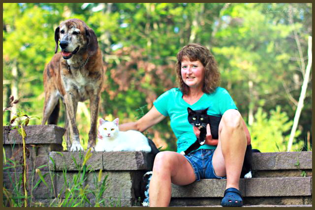 kathy with her pet family